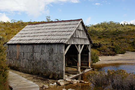 Old boathouse close to Lake Dove, Cradle Mountain Lake St  Clair National Park, Tasmania, Australia Stock Photo - 22397124