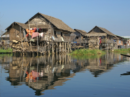 poorness: Typical villages on Inle Lake, Myanmar, Asia