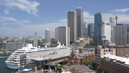Skyline of Sydney with cruise ship, Australia