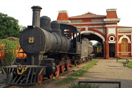 Old Railway Station with historic steam engine, Granada, Nicaragua, Central America Editorial