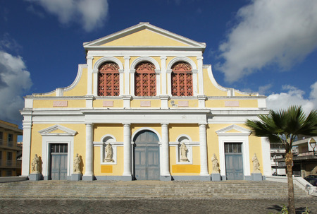 Historic Basilica of Pointe-a-Pitre, Guadeloupe, Caribbean Stock Photo