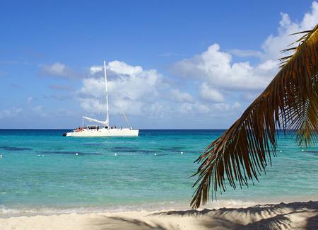 onshore: ISLA SAONA, DOMINICAN REPUBLIK - DECEMBER 07, 2013  Catamaran on Caribbean Sea close to the beach on December 07, 2013 at Isla Saona, Dominican Republic