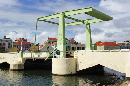 wilhelmina: WILLEMSTAD, CURACAO - DECEMBER 10, 2013  Queen Wilhelmina Bridge on December 10, 2013 in Willemstad, Curacao, ABC Islands
