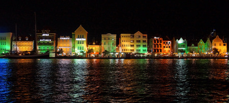 WILLEMSTAD, CURACAO - DECEMBER 10, 2013  Panorama of Punda district at night on December 10, 2013 in Willemstad, Curacao, ABC Islands, Editorial