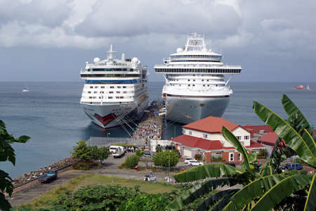 georges: SAINT GEORGES, GRENADA - DECEMBER 14, 2013  Cruise ships in the harbour of Saint Georges on December 14, 2013 in Grenada, Caribbean