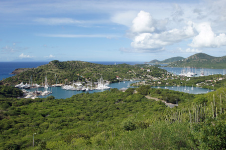 Panorama view over English Harbour and Nelsons Dockyard, Antigua and Barbuda, Caribbean