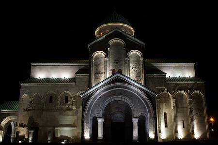 kutaisi: Bagrati Cathedral at night, Kutaisi, Georgia, Europe Archivio Fotografico