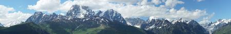 mestia: Panorama of the Schchara Mountain Range, Caucasus Mountains close to Mestia, Georgia, Europe