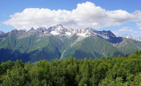 mestia: Panorama of the Caucasus Mountains close to Mestia, Georgia, Europe