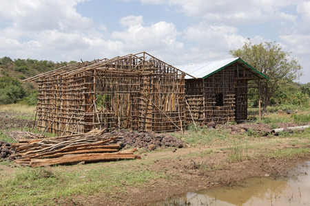 poorness: Construction of traditional houses, Great Rift Valley, Ethiopia, Africa