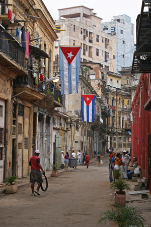 historic district: HAVANA, CUBA - FEBRUARY 23, 2010: Characteristic scene of the historic district of Havana on February 24, 2010 in Havana, Cuba, Caribbean Editorial