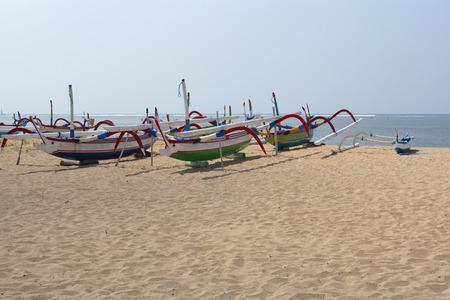 sanur: Fishing boats on the beach of Sanur, Bali, Indonesia, Asia
