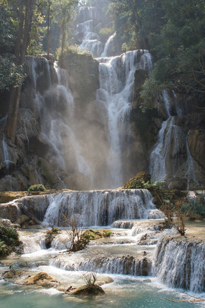 si: Tat Kuang Si Waterfall close to Luang Prabang, Laos, Asia Stock Photo