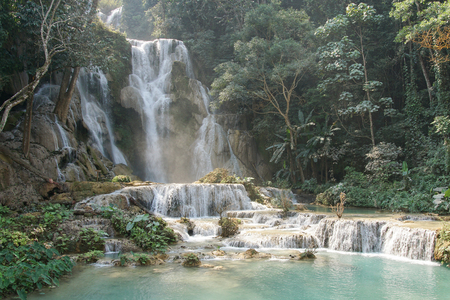 cataract falls: Tat Kuang Si Waterfall close to Luang Prabang, Laos, Asia Stock Photo