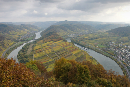 Moselle river loop on a dull autumnal day, Bremm, Germany, Europe Stock Photo