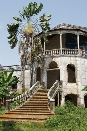 Ruin of the hospital of Roca Agua Ize, Sao Tome, Africa Stock Photo