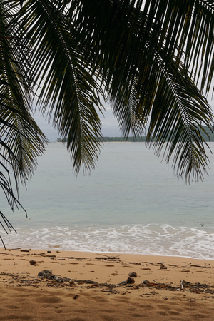 alegre: Praia Inhame on an overcast and rainy day, Sao Tome and Principe, Africa