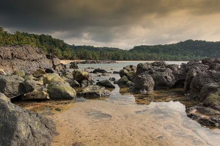 Praia Coco on an overcast day, Principe Island, Sao Tome and Principe, Africa