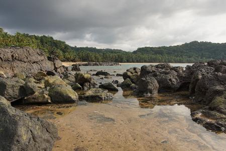 overcast: Praia Coco on an overcast day, Principe Island, Sao Tome and Principe, Africa