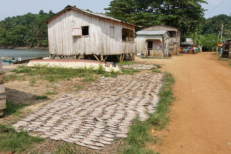 ABADE, SAO TOME AND PRINCIPE - FEBRUARY 3, 2017: Fishermen village Abade on Principe Island on February 3, 2017 in Sao Tome and Principe, Africa Editorial