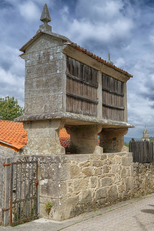 Traditional granary alongside the Camino de Santiago trail, Galicia, Spain