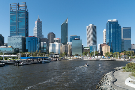 PERTH, AUSTRALIA - JANUARY 21, 2018: Skyline of downtown Perth on January 21, 2018 in Western Australia