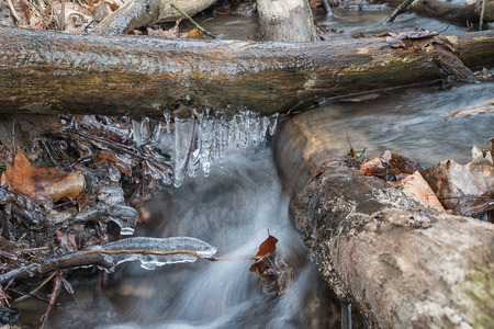 Bodies of water, cascading creek with icicles