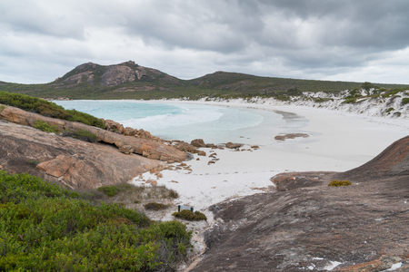 White beach of Thistle Cove on an overcast day, one of the most beautiful places in the Cape Le Grand National Park, Western Australia