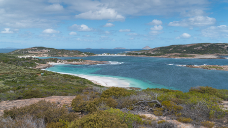 Panoramic view over the Little Wharton Beach on a summer day, one of the most beautiful places in the Cape Le Grand National Park, Western Australia Stock Photo
