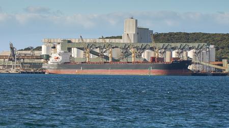 ESPERANCE, AUSTRALIA - JANUARY 29, 2018: Bulk carrier Ocean Ace in the port of Esperance on January 29, 2018 in Western Australia