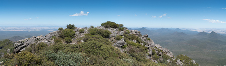 Panoramic view over the hills of the Stirling Range National Park close to Mount Barker, Western Australia Stock Photo