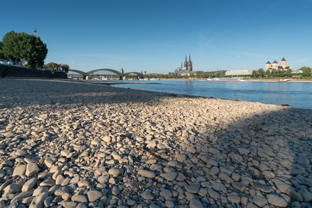COLOGNE, GERMANY - JULY 27, 2018: Drought in Germany, low water of the Rhine river in Cologne at early morning time on July 27, 2018 in Germany