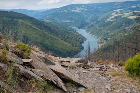 Water reservoir close to Grandas de Salime, beautiful landscape along the Camino de Santiago trail, Asturias, Spain