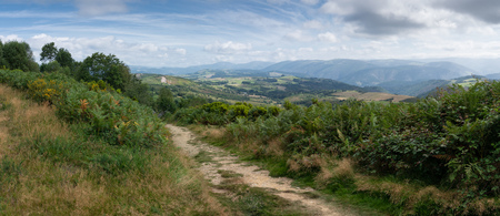 Panoramic landscape along the Camino de Santiago trail between Grandas de Salime and Fonsagrada, Asturias, Spain