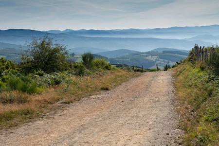 Panoramic landscape along the Camino de Santiago trail between Fonsagrada and O Cadavo, Galicia, Spain