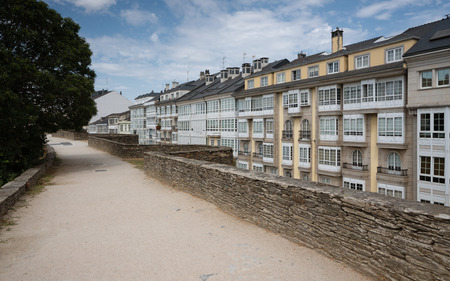Panoramic view during a walk along the city wall of Lugo, Galicia, Spain