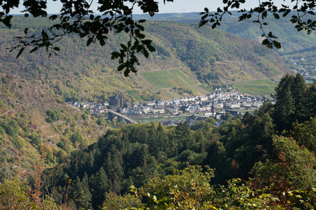 Panoramic view to the city of Cochem close to the Moselle river, Germany Europe Stock Photo