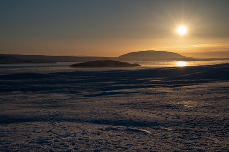 Sunrise on a cold winter day in Iceland, Europe Stock Photo