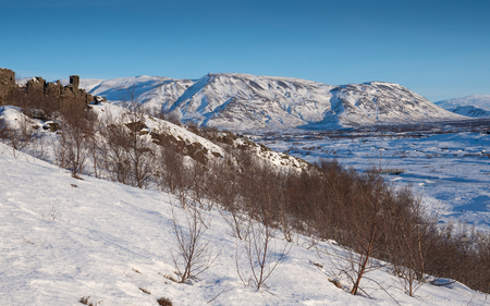 Panoramic image of the beautiful landscape of the Thingvellir National Park during winter, Iceland, Europe 免版税图像