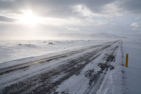 Road into the blizzard, winter in Iceland, Europe