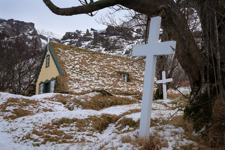 Old church of the village Hof during winter, Iceland