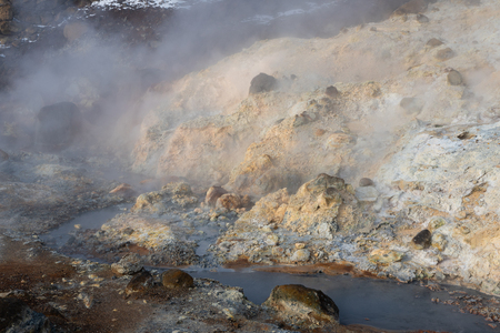 Hot springs of Seltun, geological feature in Iceland, Europe Stock Photo