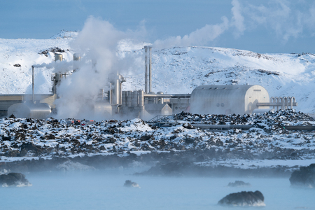 Green Energy, geothermal power plant of Grindavik during wintertime, Iceland Stock Photo