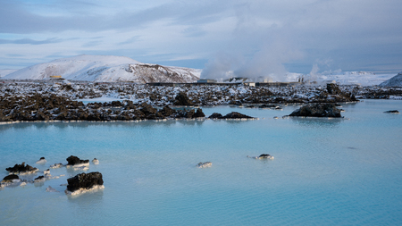 Panoramic view over the Blue Lagoon close to Grindavik, wintertime in Iceland, Europe Stock Photo