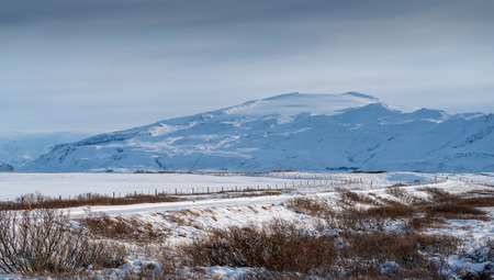 Panoramic image of the volcano Eyjafjallajo?kull, winter in Iceland