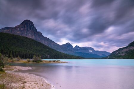 Panoramic image of the Waterfowl Lakes at sunrise, Banff National Park, Icefield Parkway, Alberta, Canada