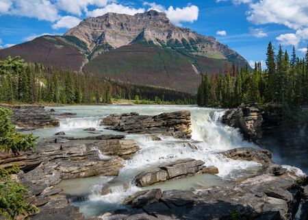Panoramic image of the Athabasca Falls, beautiful place close to the Icefields Parkway, Jasper National Park, Alberta, Canada