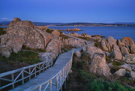 Sunset on the beautiful landscape of Galicia, coastline close to O Grove, Spain, Europe