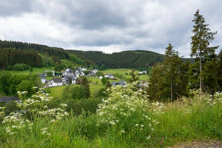 Panoramic image of the landscape close to Winterberg, Sauerland region, Germany