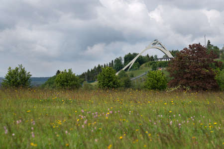 Panoramic image of the landscape close to Winterberg with ski jump, Sauerland region, Germany